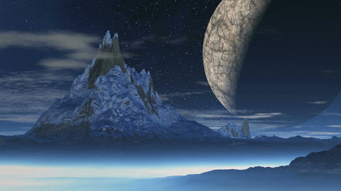 Snow-covered mountain and a huge moon Animation