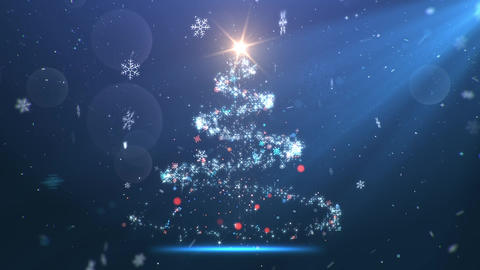 Magic Christmas Fir Tree background with flying snow and shiny particles Animation