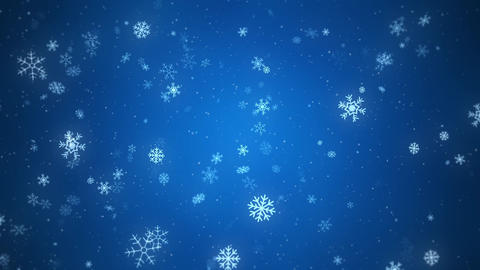 Snowflakes slowly falling down, loopable on blue background Animation