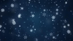 Snowflakes slowly rotatin and falling down, loopable snowfall on dark blue Animation