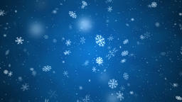 Snowflakes falling with side wind, big and medium snow, loopable on blue Animation