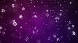 Snowflakes slowly rotatin and falling down, loopable snowfall on purple Animation