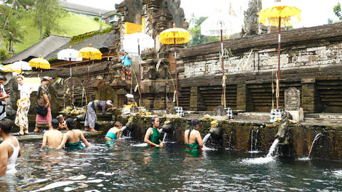 Ritual of water purification at Tirta Empul Temple, Bali Footage