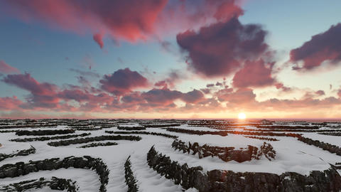 Sunset Winter Aerial Flight Over Mountain Filmmaterial