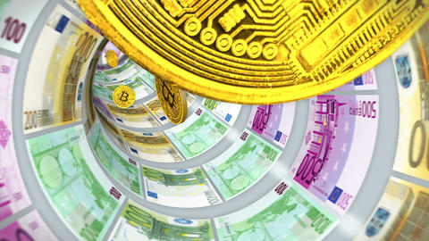 3D Tunnel of euro bills and flying back bitcoins Animation