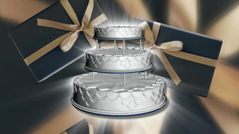 Spinning wedding cake scrolling presents Live Action