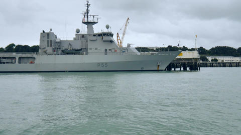shot of new zealand navy warship ビデオ