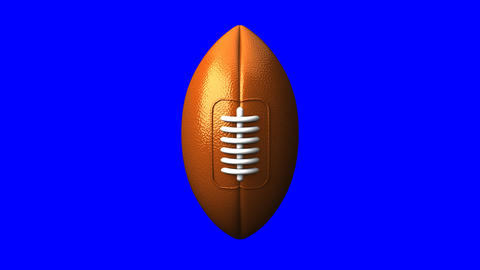 Rugby Ball On Blue Chorma Key Animation