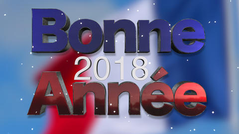 Happy New Year 2018 French Language Background Loop Footage