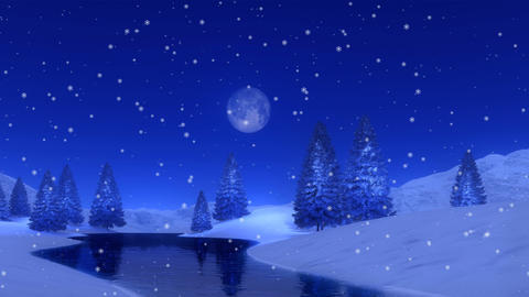 Fir forest and frozen lake at snowy winter night Cinemagraph Image