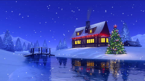 Christmas house at snowy fir forest Cinemagraph Animation