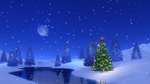 Christmas tree at snowy winter night Cinemagraph Animation