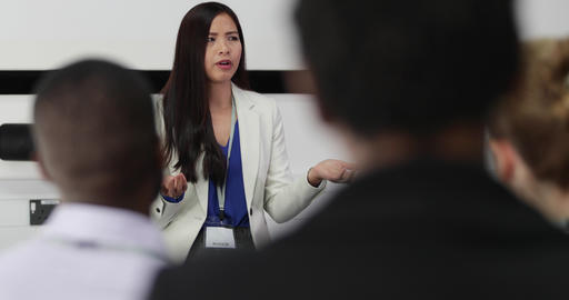 Female executive leading a training conference Live Action