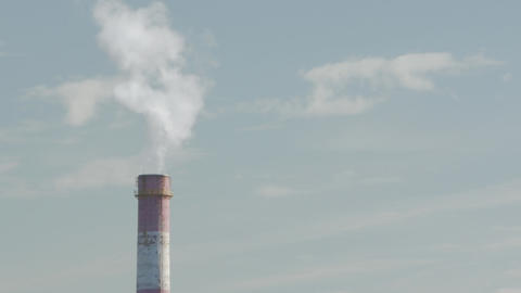 Industrial Air Pollution. Time Lapse Of Smoking Chimneys Of A Power Plant Footage