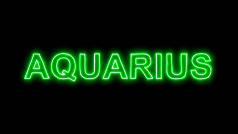 Neon flickering green constellation of a AQUARIUS in the haze. Alpha channel Animation