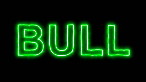 Neon flickering green constellation of a BULL in the haze. Alpha channel Animation