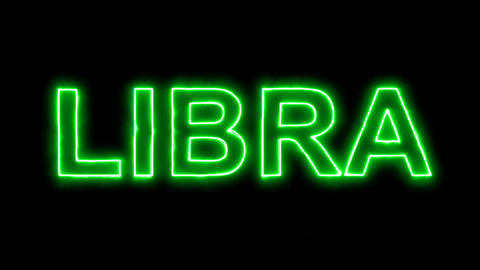 Neon flickering green constellation of a LIBRA in the haze. Alpha channel Animation