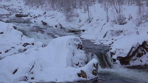 Winter Forest River at Dusk. Slow Motion and Seamless Loop 画像