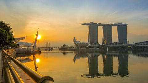 Marina Bay and Sands SkyPark at Dawn. Time Lapse Footage