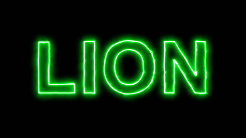 Neon flickering green constellation of a LION in the haze. Alpha channel Animation