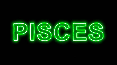 Neon flickering green constellation of a PISCES in the haze. Alpha channel Animation