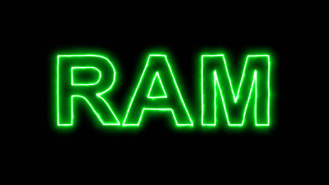Neon flickering green constellation of a RAM in the haze. Alpha channel Animation