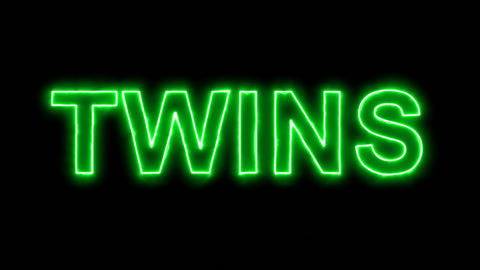 Neon flickering green constellation of a TWINS in the haze. Alpha channel Animation