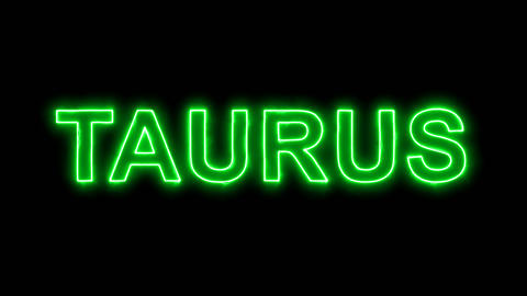Neon flickering green constellation of a TAURUS in the haze. Alpha channel Animation