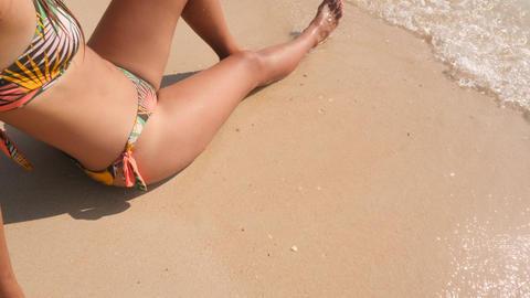 Woman n Bikini Swimsuit Drawing Heart on White Sand at Tropical Island Beach in Footage