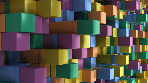 Wall of blue, green, orange and purple cubes フォト