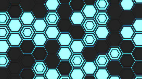 Abstract 3d background made of black hexagons on blue glowing ba フォト