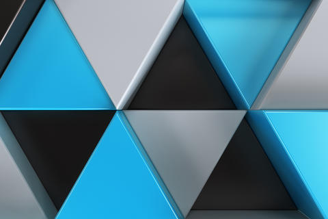 Pattern of black, white and blue triangle prisms フォト