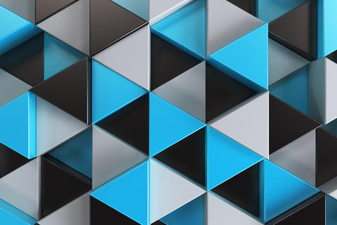 Pattern of black, white and blue triangle prisms Photo
