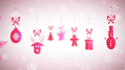 Funny Christmas background with falling holiday icons, looped Animation