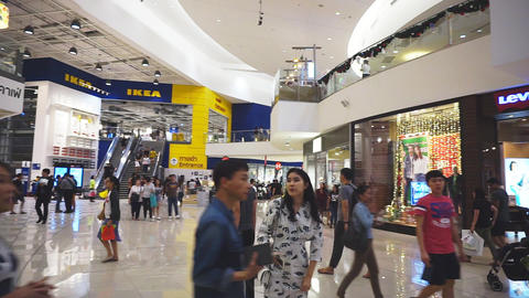 Unidentified peoples are walking front shop of IKEA... Stock Video Footage