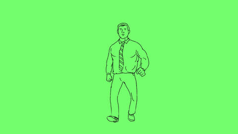 Businessman Morph Fat to Fit Front Walk 2D Animation Animation