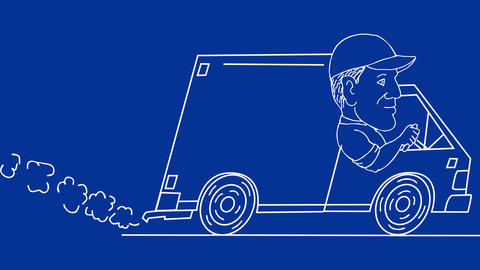Delivery Man Driving Van Drawing 2D Animation CG動画素材