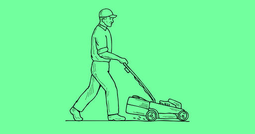 Gardener Lawn Mower Mowing 2D Animation Animation
