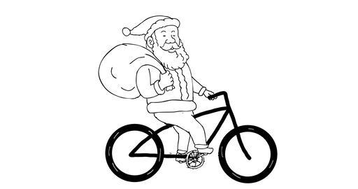 Santa Claus Riding Bicycle 2D Animation Animation