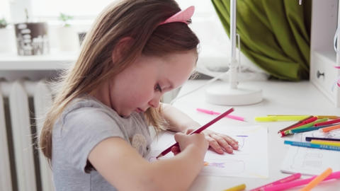 Cute little girl drawing Footage