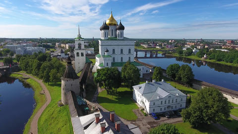 Aerial of Pskov Kremlin and Trinity Cathedral Footage