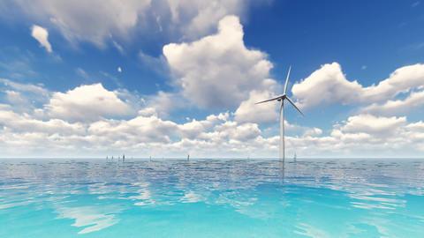 Wind turbine on blue sea Footage