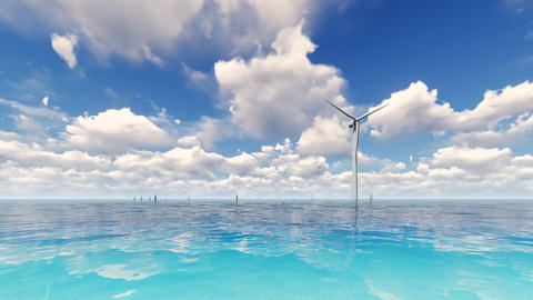 Wind turbine generating electricity on sea 3D render Photo