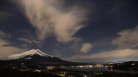 Timelapse - Night view of Mt. Fuji and Yamanakako Live Action