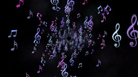 Tunnel of colorful Music Notes Animation