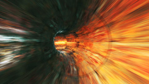 Abstract looped background with animation of flight in sci-fi tunnel with Animación