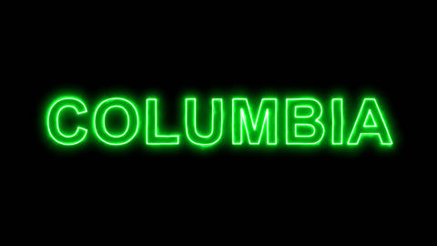 Neon flickering green State Name COLUMBIA in the haze. Alpha channel Animation