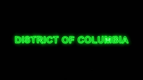 Neon flickering green State Name DISTRICT OF COLUMBIA in the haze. Alpha channel Animation