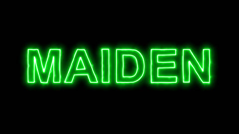 Neon flickering green constellation of a MAIDEN in the haze. Alpha channel Animation