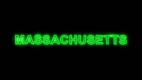 Neon flickering green State Name MASSACHUSETTS in the haze. Alpha channel Animation